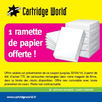 Une ramette de papier offerte - Cartridge World Brive